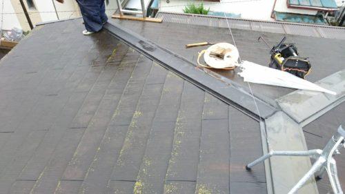 K様邸 コロニアル屋根 棟部分 板金交換工事
